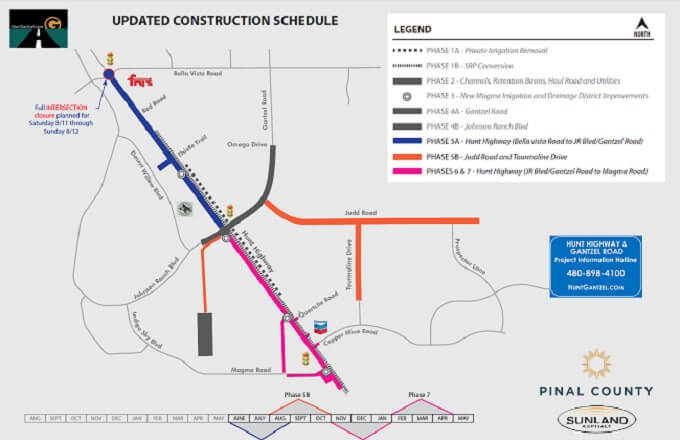 The closure of Hunt Highway is expected to be fully removed by Friday, August 24